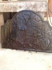 "Vintage cast iron fire back in prestige order.""St.Hubertus""theme."