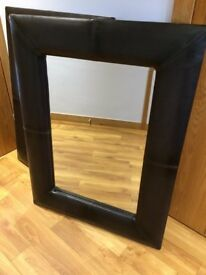 NEXT Brown Faux Leather Mirror