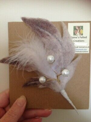 Needle Felted feather & glass pearl Brooch, OOAK Hand Crafted, Natural Wool