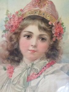 Beautiful Victorian Print in Pastel Colours - Young Child