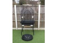 Large bird cage and stand and accessories