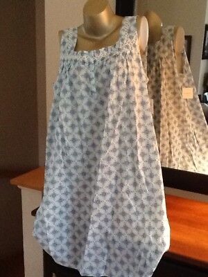 Womens Nightgown Croft & Barrow 100% Woven Cotton Aqua Blue Sleeveless Large