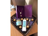Mother's Day / Birthday / Female Gift Silver Flower Necklace, Candle, Lotion, Perfume & Chocolates
