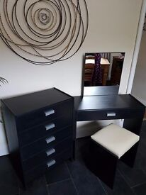 BLACK 5 DRAWER CHEST AND DRESSING TABLE WITH STOOL