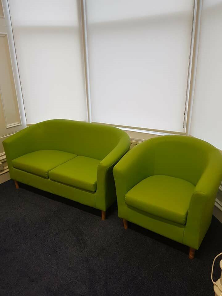 2 Seater Lime Green Sofa And Matching Tub Chair Very Good Condition