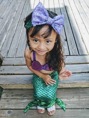 US Seller Mermaid toddler Girls Tail Bikini Set Swimsuit Costume Beachwear
