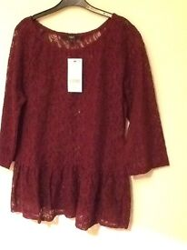 Brand new women's lace top. Colour burgundy ,next size 12