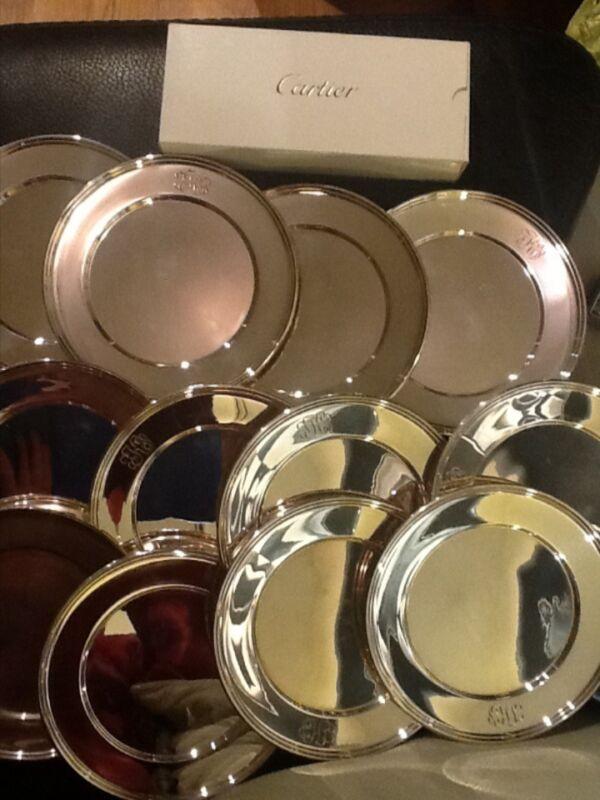 """Cartier Sterling Silver 6"""" Dessert Plates Set of 12, Monogrammed, 1,080 gr"""