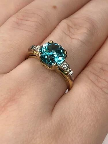Rare Blue Zircon Vintage Ring Platinum and 14K gold with accent Diamonds