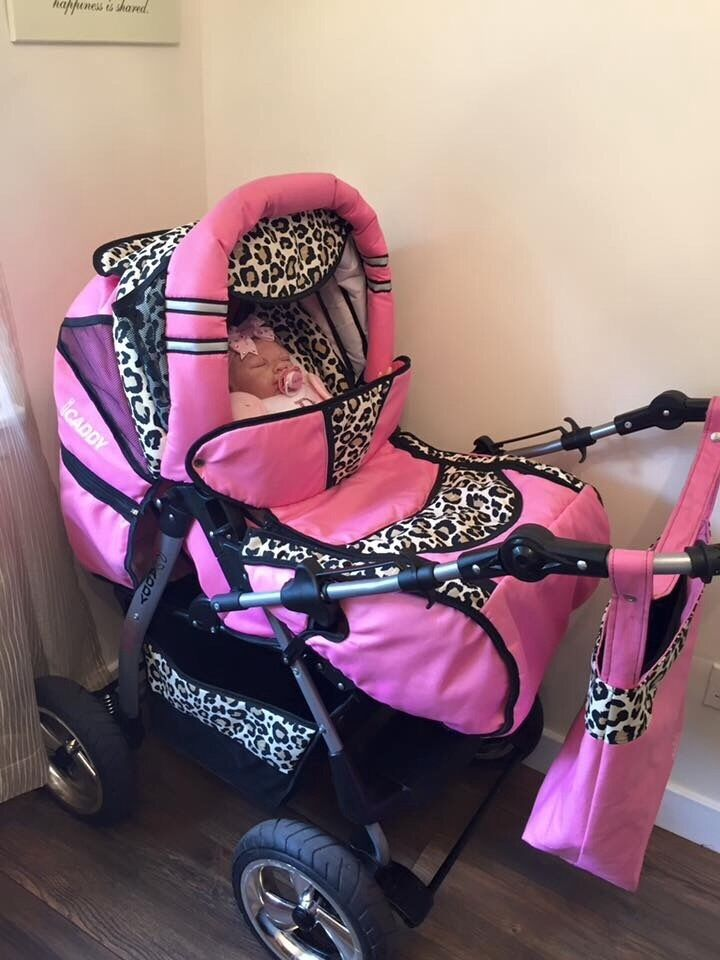 Pink leopard print pram