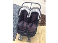 Double Buggy (Baby Jogger City Mini Double in Black) In very good USED Condition