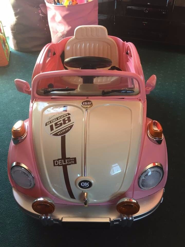 Retro Beetle Style 12v Kids Electric Ride On Car - MP3 and Parental Remote Control (PINK)