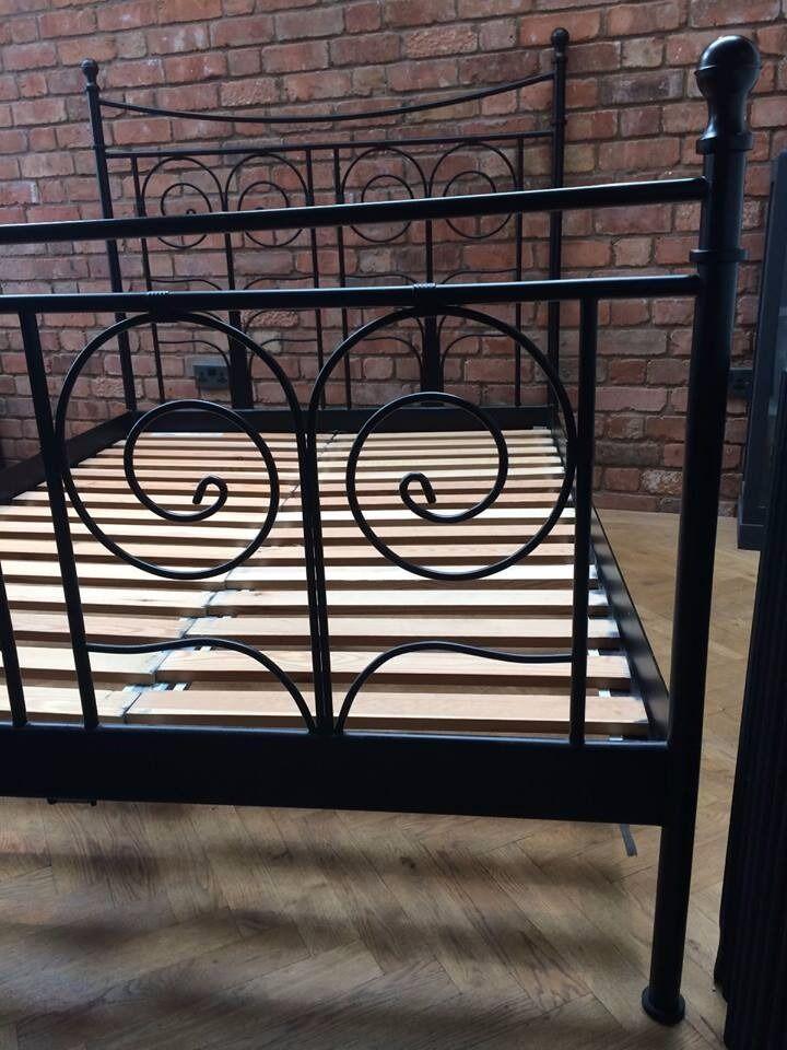 Ikea Noresund Black Metal Double Bed Frame In Northampton