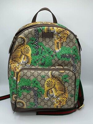GUCCI backpack GG Supreme Bengal sherry line backpack tiger pattern PVC leather