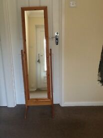 Cheval Full Length Bedroom Mirror Antique Pine