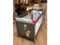 BRAND NEW IN BOX HAUCK POOH FRIENDS TRAVEL COT UNISEX FROM BIRTH TO TWO WITH MATTRESS AND TRAVEL BAG