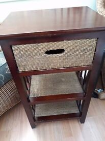 Dark Wood & Seagrass Occasional Stand