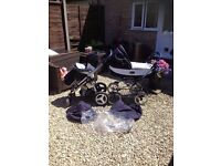 BEBECAR PUSHCHAIR/PRAM COMBO - Bebecar Grand Style and Bebecare i-op Pushchair Set (Great Condition)