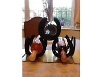 Wine racks made from recycled horseshoes any design made to order