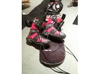 Snow board, Bag, bindings and boots