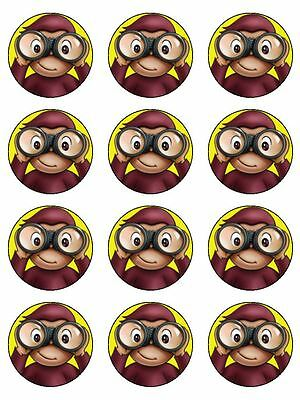 12 Curious George Edible Icing Image Birthday Cupcake Topper Cake Decoration #2 (Curious George Cupcakes)