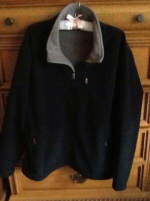 Cabelas Black Gray Fleece Zip Front Jacket   Large L   Nice