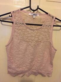 Dusky/pale pink lace cropped top