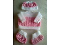 NEW Handknitted Baby Sets 0 - 3 months