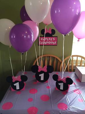Minnie Mouse Balloon Centerpieces  personalized age.Great for birthday parties (Minnie Mouse Birthday Decorations)