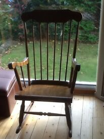 Solid Oak VIntage Rocking Chair great condition