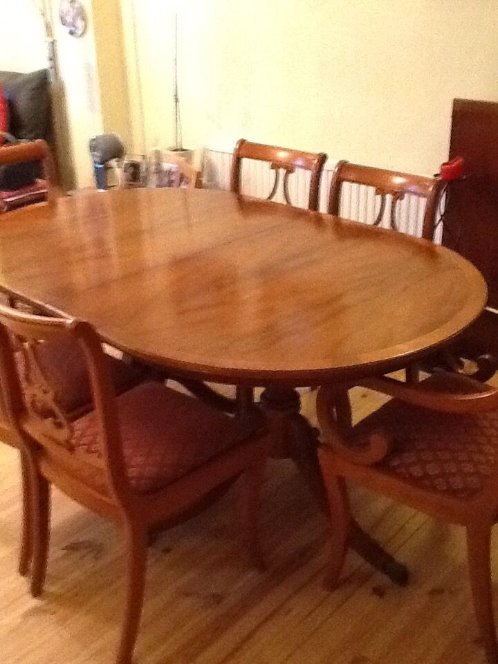 Yew Dining Table Chairs And Sideboard