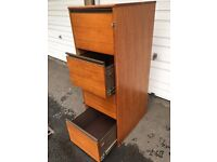 large solid wooden lockable filing cabinet in good condition