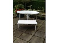 Extending garden or conservatory table plus side table