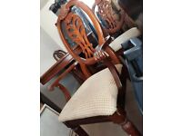 6 good quality solid wooden chairs with matching extendable dining table