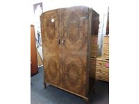 Gorgeous burr walnut wardrobe Copley Mill LOW COST MOVES 2nd Hand Furniture STALYBRIDGE SK15 3DN