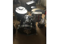 5 piece pearl export series drum kit, 3 cymbals, stool, stands and practice pads + 1 cracked cymbal