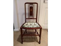 Antique Occasional Chair with Inlaid detailing - Newly Reupholstered.
