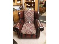 Vintage oxblood leather armchair Copley Mill LOW COST MOVES 2nd Hand Furniture STALYBRIDGE SK15 3DN
