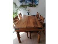 Dining Table and Chairs, Sheesham Indian Jali Wood, Solid wood, Table and 4 chairs