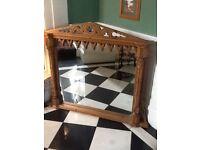 Large ornate mirror, pine frame
