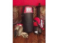 Boxing kit - punch bag, gloves, pads, protectors and wall bracket