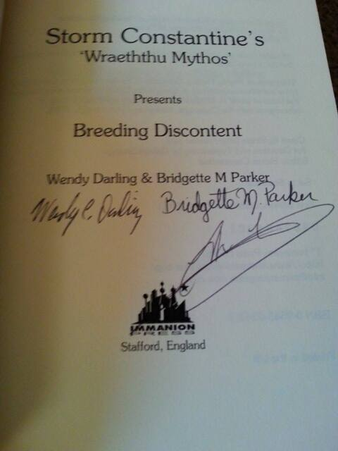 Storm Constantine TRIPLE SIGNED Breeding Discontent (paperback) Wraeththu Mythos