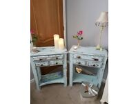Beautiful pair solid wood bedside tables