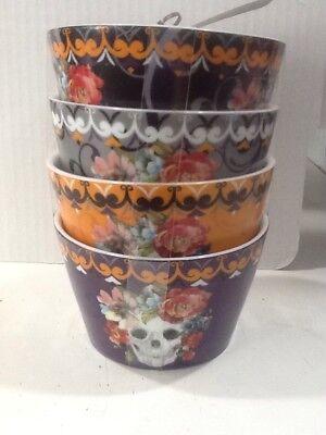222Fifth Marbella Skull Halloween  4 New Appetizer Dessert Bowls