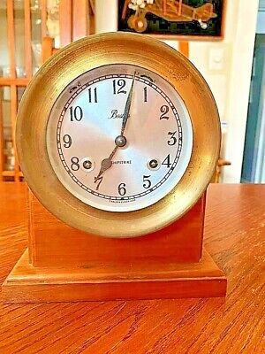Vintage Chelsea BOSTON Brass Nautical Shipstrike Desk Clock Mantle WORKS!