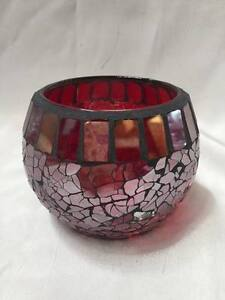 Burgundy Mosaic Candle Holder Reduced 50%