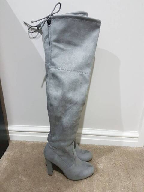 dee5a98a2d7 Size 6 Betts Bardot grey over the knee suede boots BNIB