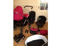 * Silver Cross Wayfarer Complete Travel System in Raspberry *