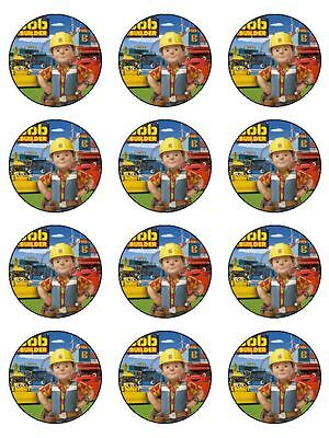 12 BOB THE BUILDER Edible Icing Image Birthday Cupcake Decoration Cake Toppers Bob The Builder Cake Decorations