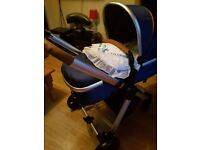 Blue and brown pram
